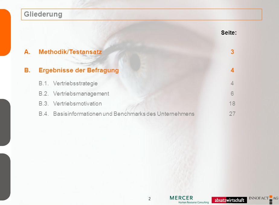 2 Gliederung Seite: A.Methodik/Testansatz 3 B.Ergebnisse der Befragung 4 B.1.Vertriebsstrategie 4 B.2.