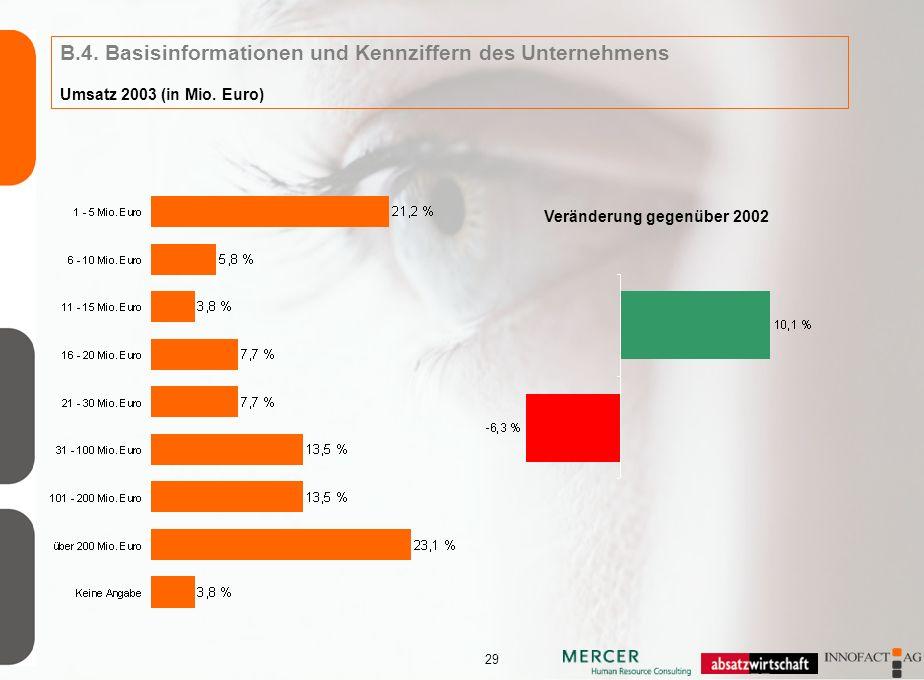 29 B.4. Basisinformationen und Kennziffern des Unternehmens Umsatz 2003 (in Mio.