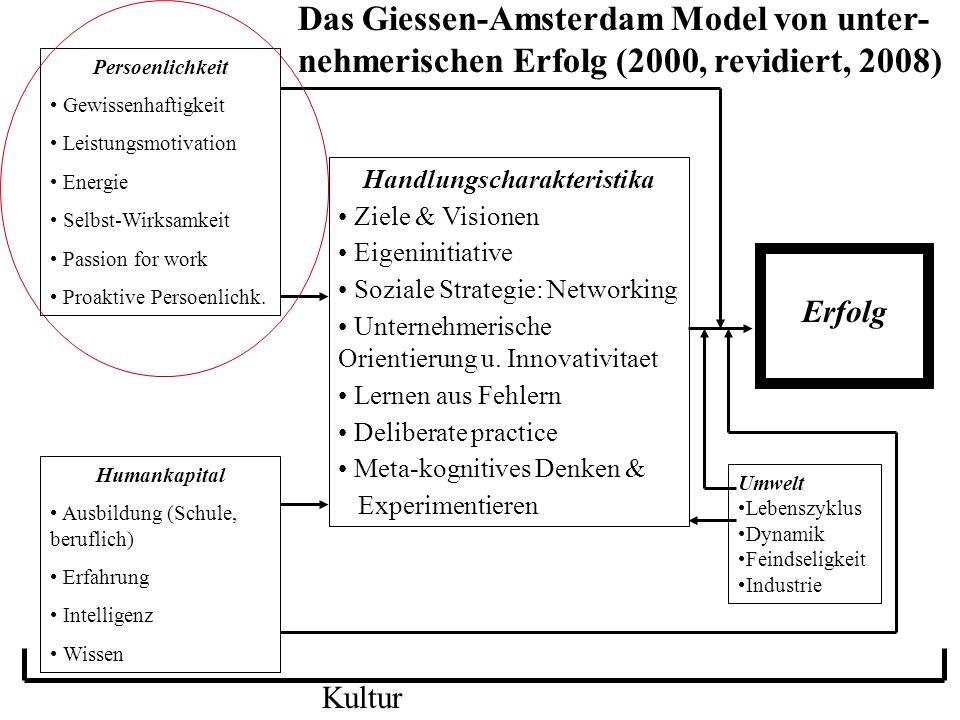 Handlungscharakteristika Ziele & Visionen Eigeninitiative Soziale Strategie: Networking Unternehmerische Orientierung u. Innovativitaet Lernen aus Feh
