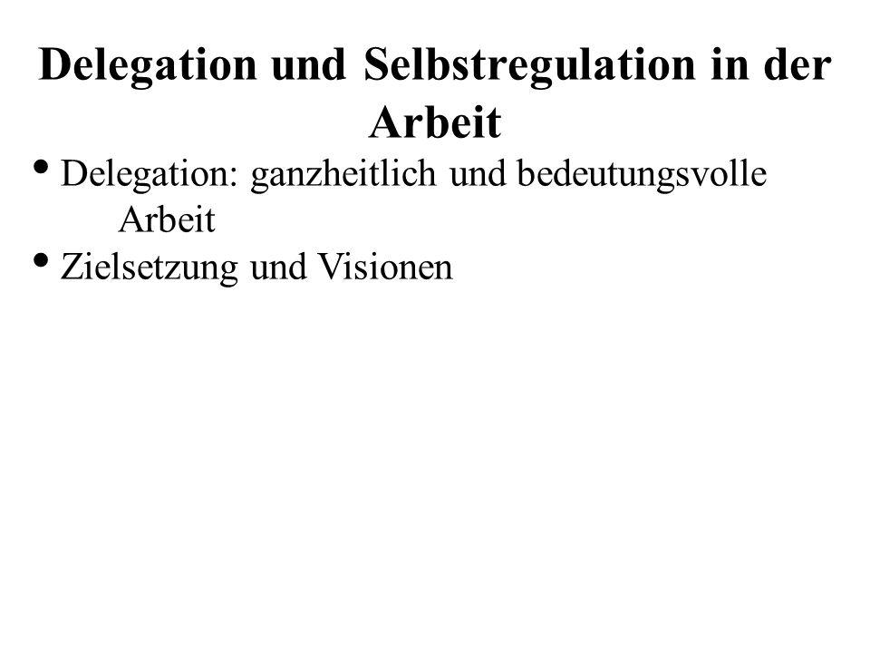 Delegation und Selbstregulation in der Arbeit Delegation: ganzheitlich und bedeutungsvolle Arbeit Zielsetzung und Visionen