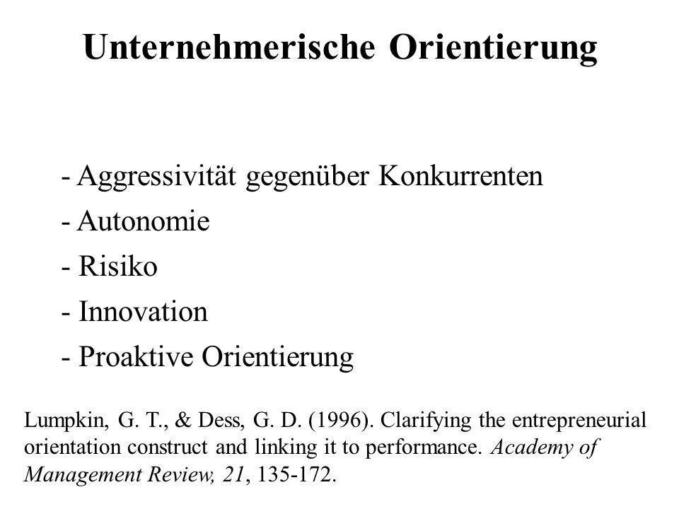 Unternehmerische Orientierung - Aggressivität gegenüber Konkurrenten - Autonomie - Risiko - Innovation - Proaktive Orientierung Lumpkin, G. T., & Dess