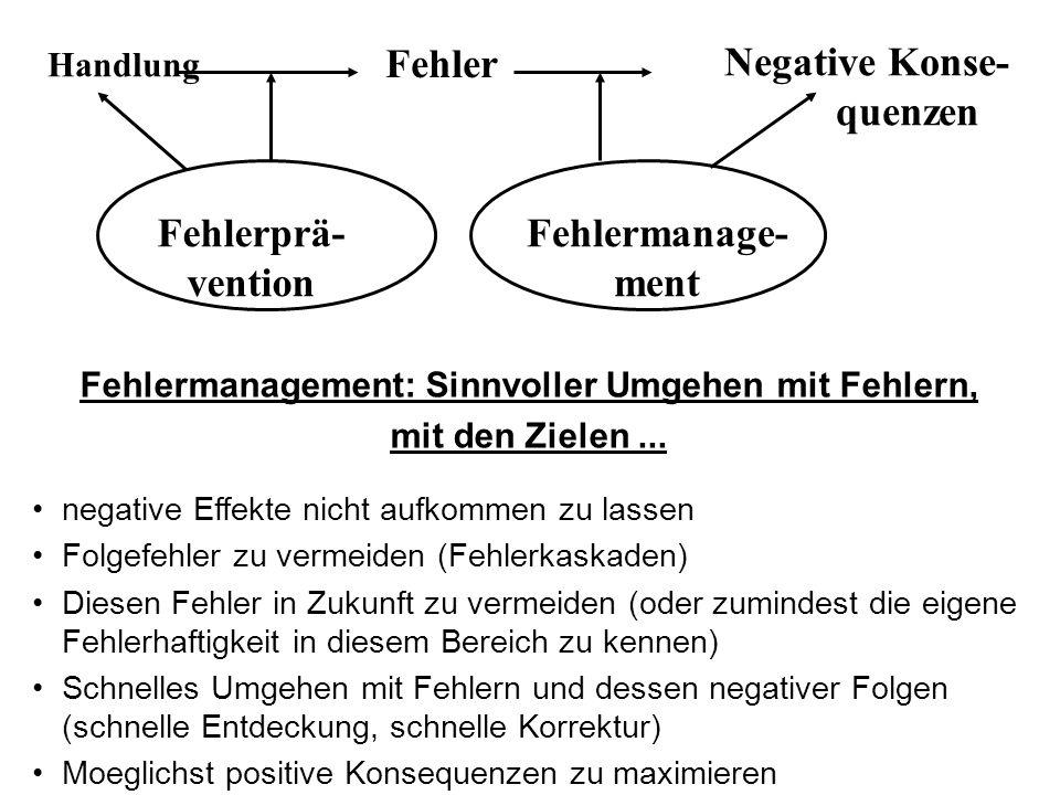 Fehlermanagement: Sinnvoller Umgehen mit Fehlern, mit den Zielen... negative Effekte nicht aufkommen zu lassen Folgefehler zu vermeiden (Fehlerkaskade