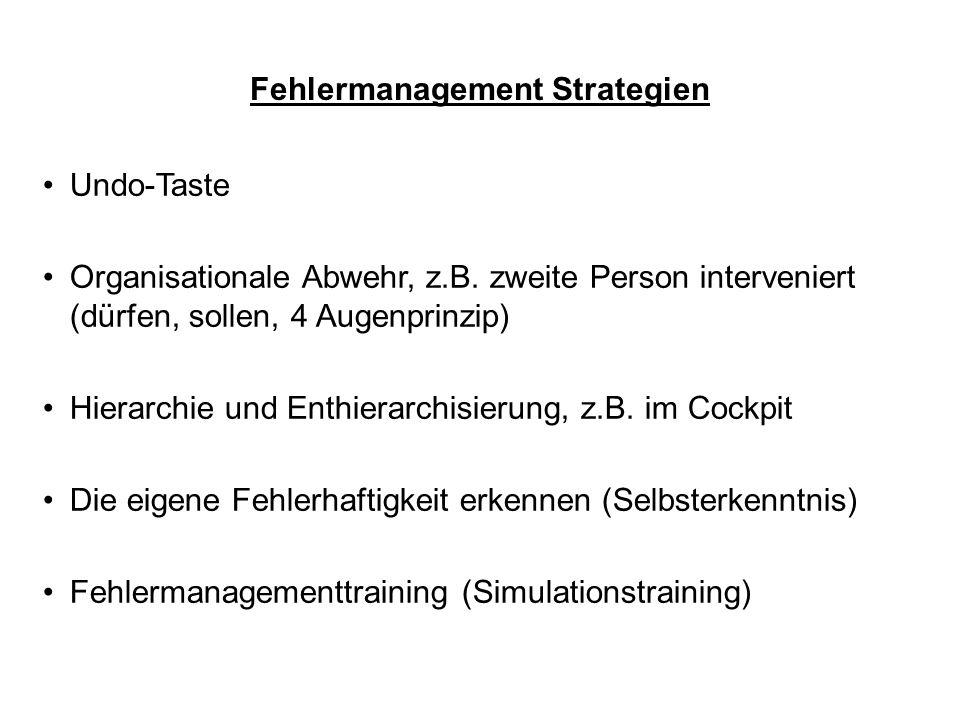 Fehlermanagement Strategien Undo-Taste Organisationale Abwehr, z.B. zweite Person interveniert (dürfen, sollen, 4 Augenprinzip) Hierarchie und Enthier