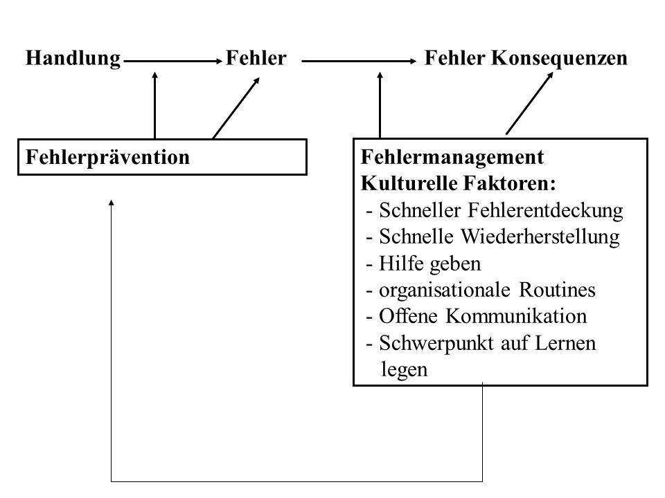 Fehlermanagement Kulturelle Faktoren: - Schneller Fehlerentdeckung - Schnelle Wiederherstellung - Hilfe geben - organisationale Routines - Offene Komm