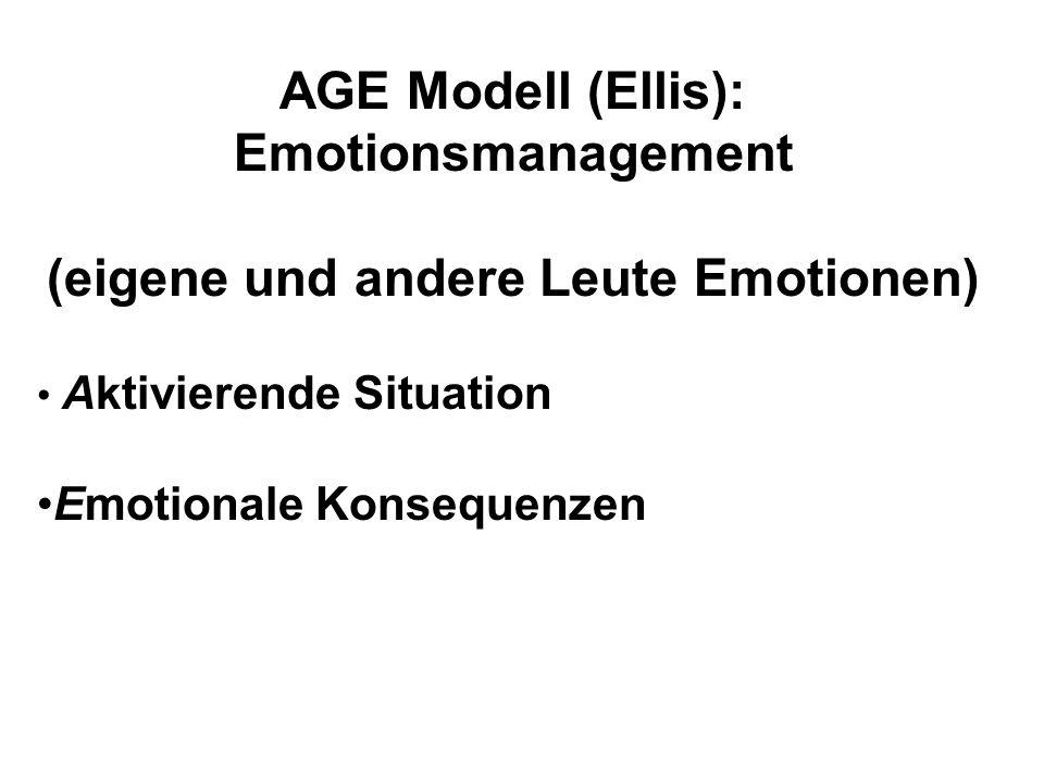 AGE Modell (Ellis): Emotionsmanagement (eigene und andere Leute Emotionen) Aktivierende Situation Emotionale Konsequenzen