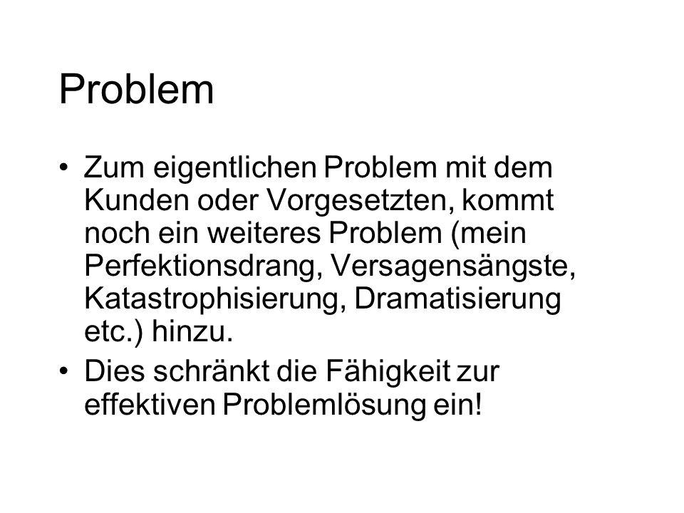 Problem Zum eigentlichen Problem mit dem Kunden oder Vorgesetzten, kommt noch ein weiteres Problem (mein Perfektionsdrang, Versagensängste, Katastroph