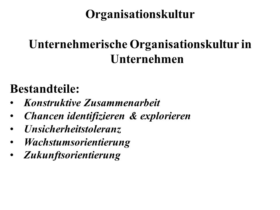 Organisationskultur Unternehmerische Organisationskultur in Unternehmen Bestandteile: Konstruktive Zusammenarbeit Chancen identifizieren & explorieren