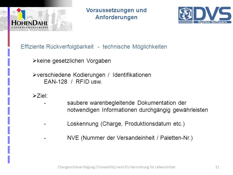 Chargenrückverfolgung (Traceability) nach EU-Verordnung für Lebensmittel11 Voraussetzungen und Anforderungen Effiziente Rückverfolgbarkeit - technisch