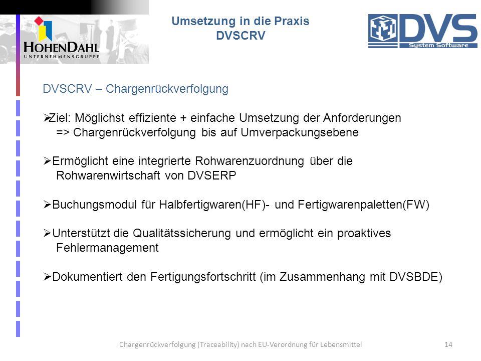 Chargenrückverfolgung (Traceability) nach EU-Verordnung für Lebensmittel14 Umsetzung in die Praxis DVSCRV DVSCRV – Chargenrückverfolgung Ziel: Möglich