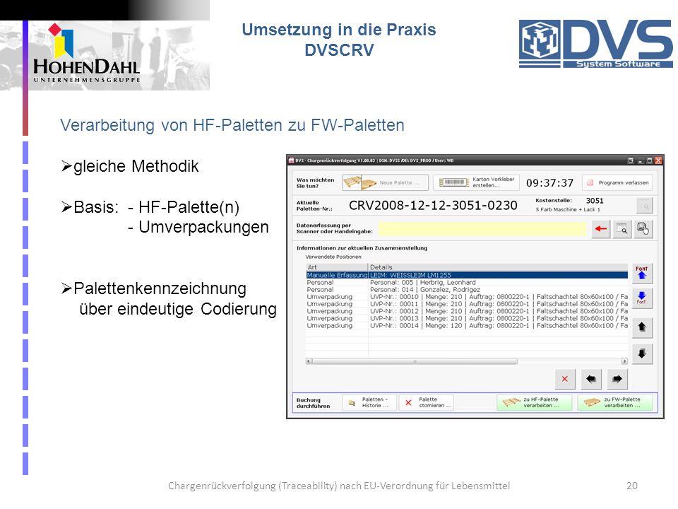 Chargenrückverfolgung (Traceability) nach EU-Verordnung für Lebensmittel20 Umsetzung in die Praxis DVSCRV Verarbeitung von HF-Paletten zu FW-Paletten