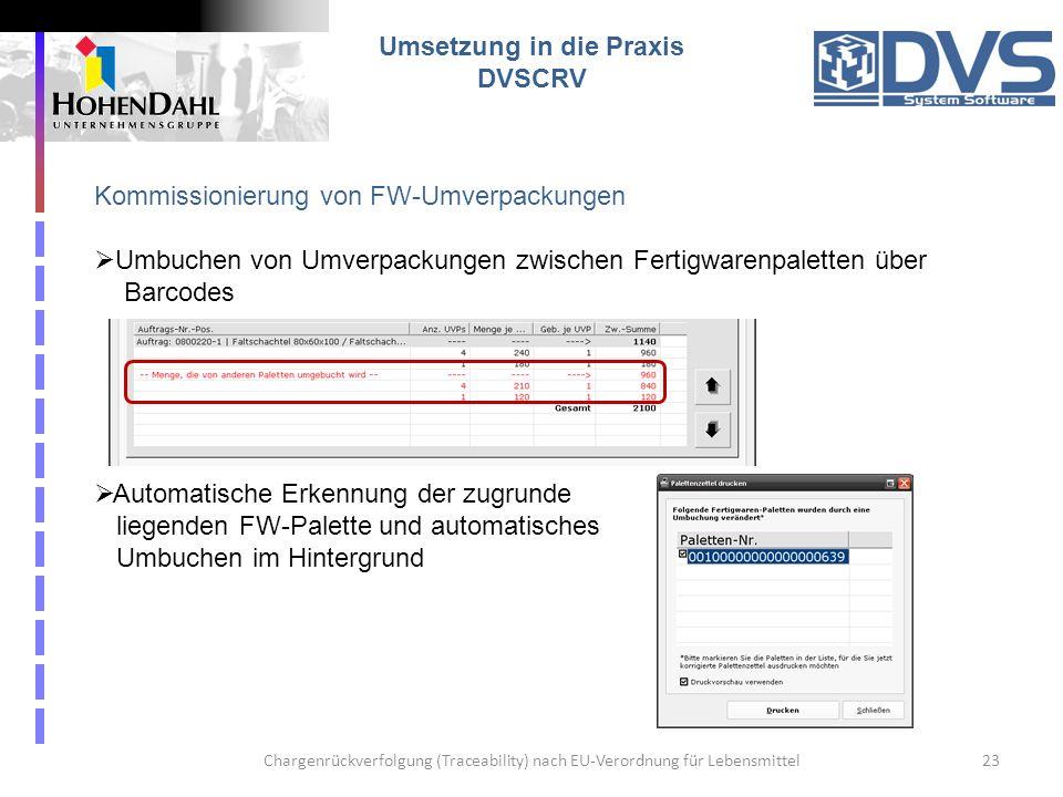 Chargenrückverfolgung (Traceability) nach EU-Verordnung für Lebensmittel23 Umsetzung in die Praxis DVSCRV Kommissionierung von FW-Umverpackungen Umbuc