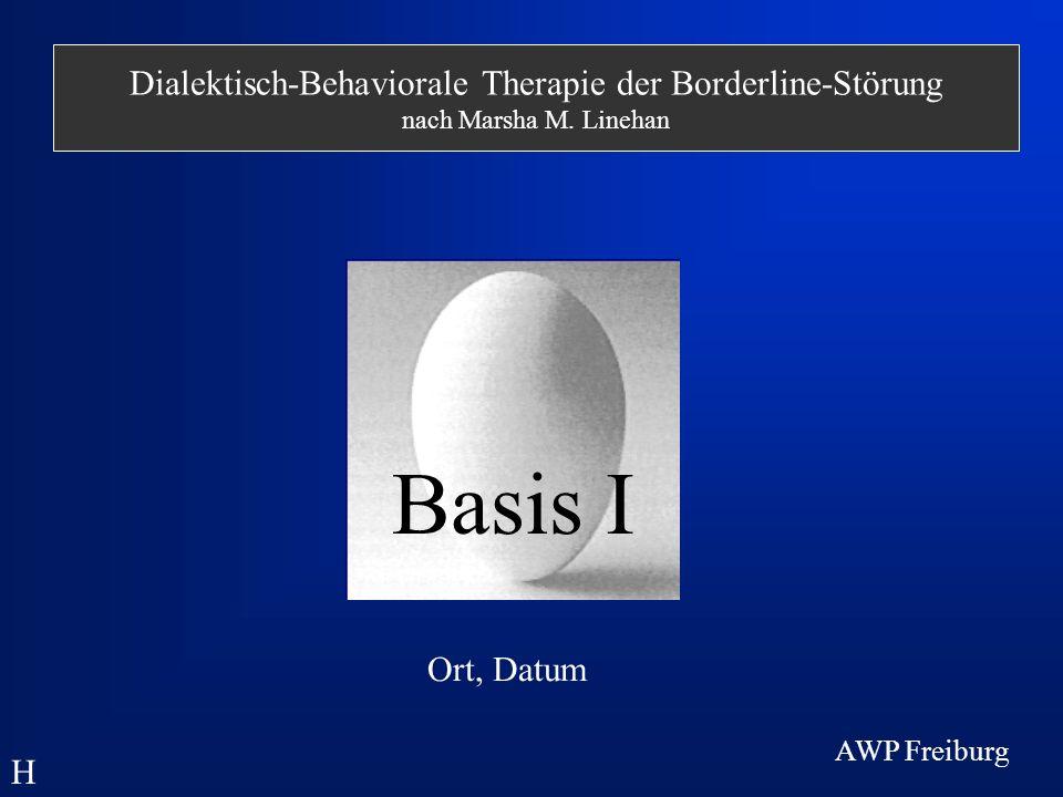 Strategien der DBT: Verhaltensanalyse - allgemeine Schritte - Aufstellen von Hypothesen Durchführen einer Kettenanalyse Definition des Problemverhaltens H