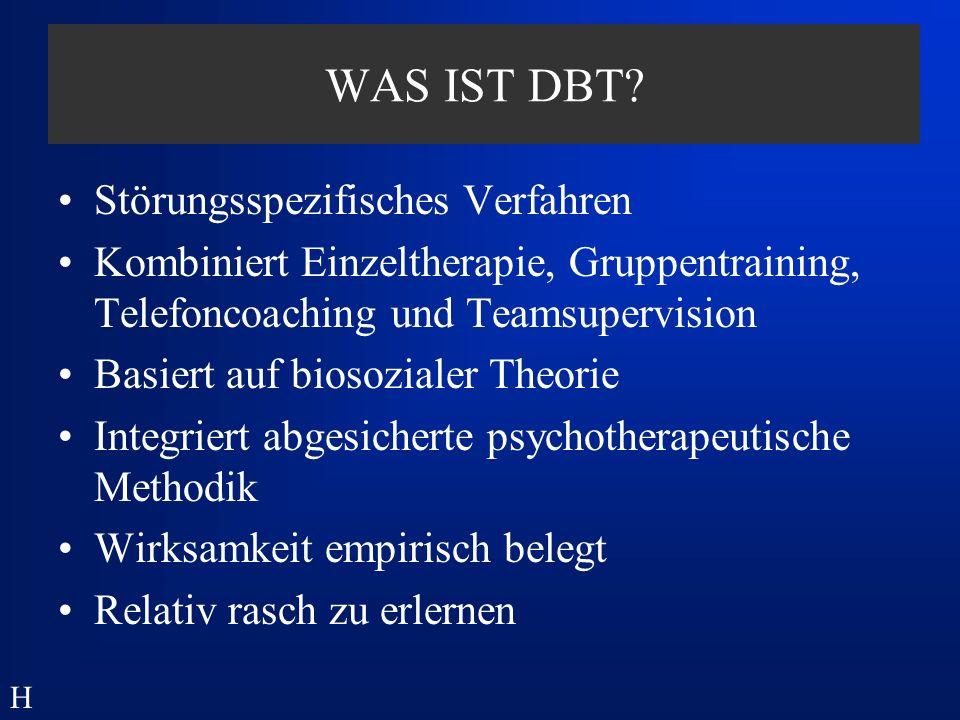 point of no return dysfunktionale Kettenglieder (Gedanken,Verhalten) funktionale Kettenglieder (Gedanken,Verhalten) Strategien der DBT: Verhaltensanalyse - Durchführung der Kettenanalyse - H