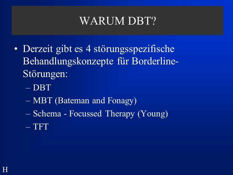 Ausbildungsgang DBT-Therapeut: DDBT www.dachverband-dbt.de –Approbation oder FA –80 Stunden Theorie (5 x 2Tage) –1 ambulanter Fall (supervidiert) –1 Skills-Gruppe (supervidiert) –Fachgespräch –www.dachverband-dbt.de H