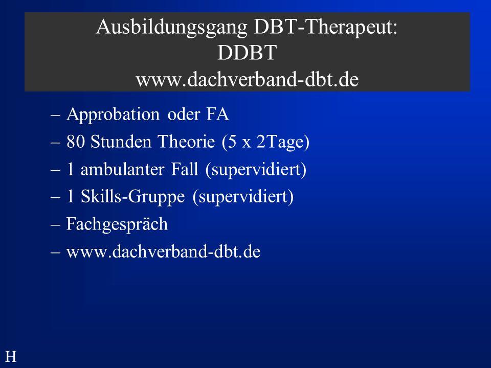 Dialektisch Behaviorale Therapie - ambulantes Netzwerk - EinzeltherapeutIn PharmakotherapeutIn Stationäres Backup SozialarbeiterIn Supervision/Intervision Skillsgruppe KörpertherapeutIn H