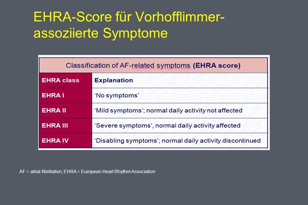 EHRA-Score für Vorhofflimmer- assoziierte Symptome AF = atrial fibrillation; EHRA = European Heart Rhythm Association