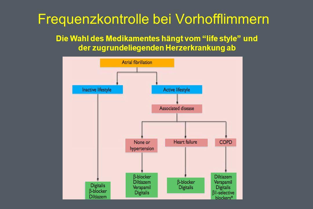 Frequenzkontrolle bei Vorhofflimmern Die Wahl des Medikamentes hängt vom life style und der zugrundeliegenden Herzerkrankung ab