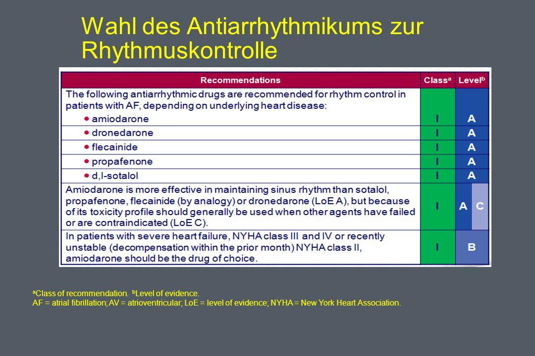 Wahl des Antiarrhythmikums zur Rhythmuskontrolle a Class of recommendation.