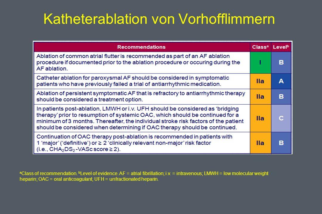 Katheterablation von Vorhofflimmern a Class of recommendation.