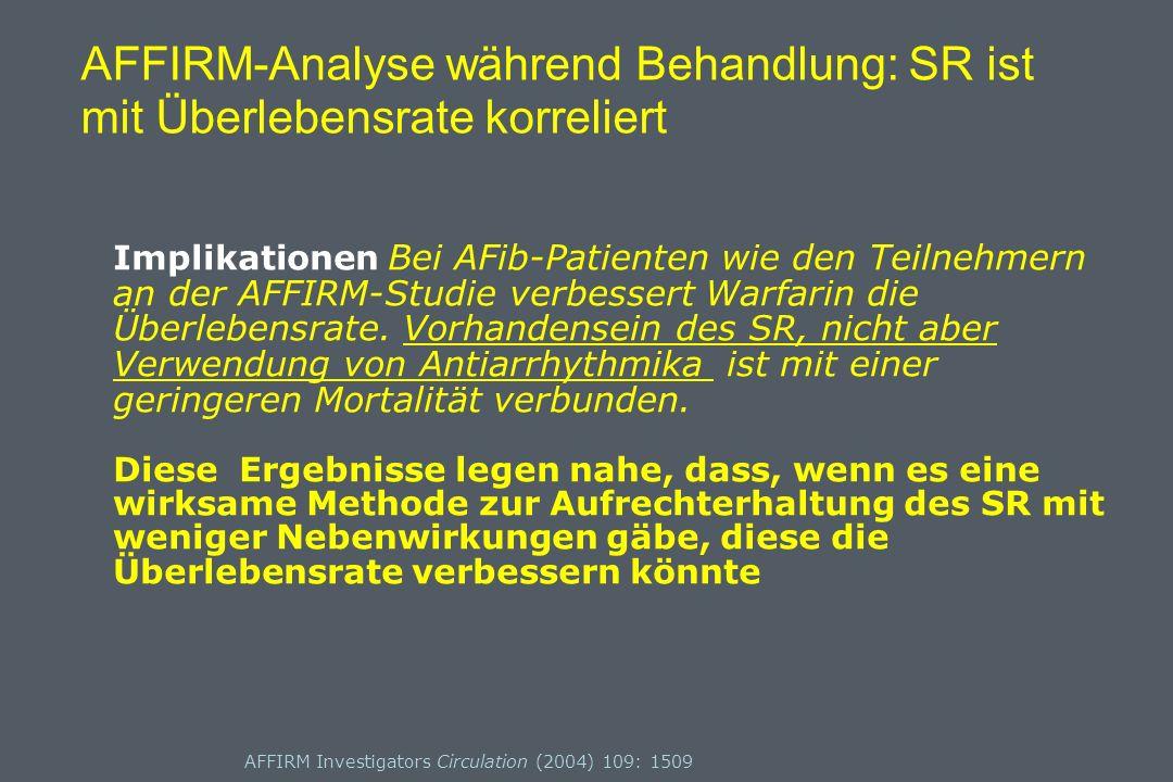 AFFIRM Investigators Circulation (2004) 109: 1509 AFFIRM-Analyse während Behandlung: SR ist mit Überlebensrate korreliert Implikationen Bei AFib-Patienten wie den Teilnehmern an der AFFIRM-Studie verbessert Warfarin die Überlebensrate.