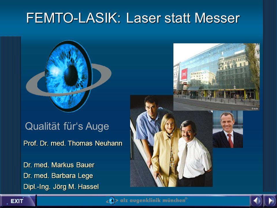 EXIT Qualität fürs Auge FEMTO-LASIK: Laser statt Messer Prof.