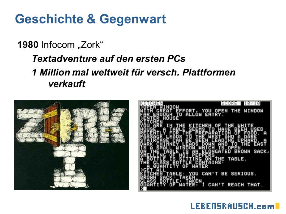 Geschichte & Gegenwart 1980 Infocom Zork Textadventure auf den ersten PCs 1 Million mal weltweit für versch.