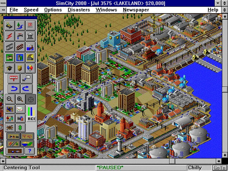 Geschichte & Gegenwart 1991 Maxis Sim City Simulation einer Stadt ISO-Perspektive erst für PC und Mac später SNES, etc.