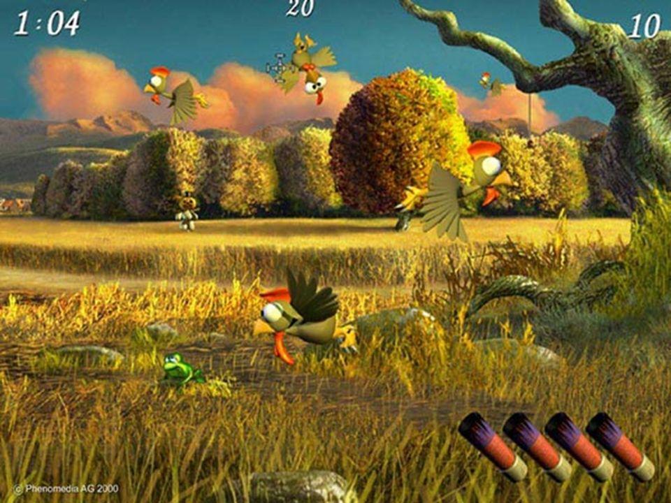 Geschichte & Gegenwart 1999/2000 Phenomedia Moorhuhn 3D-Variante von Space-Invaders bloß mit Hühnern zuerst kostenloses Werbespiel später auch zu kaufen verschiedene Nachfolger