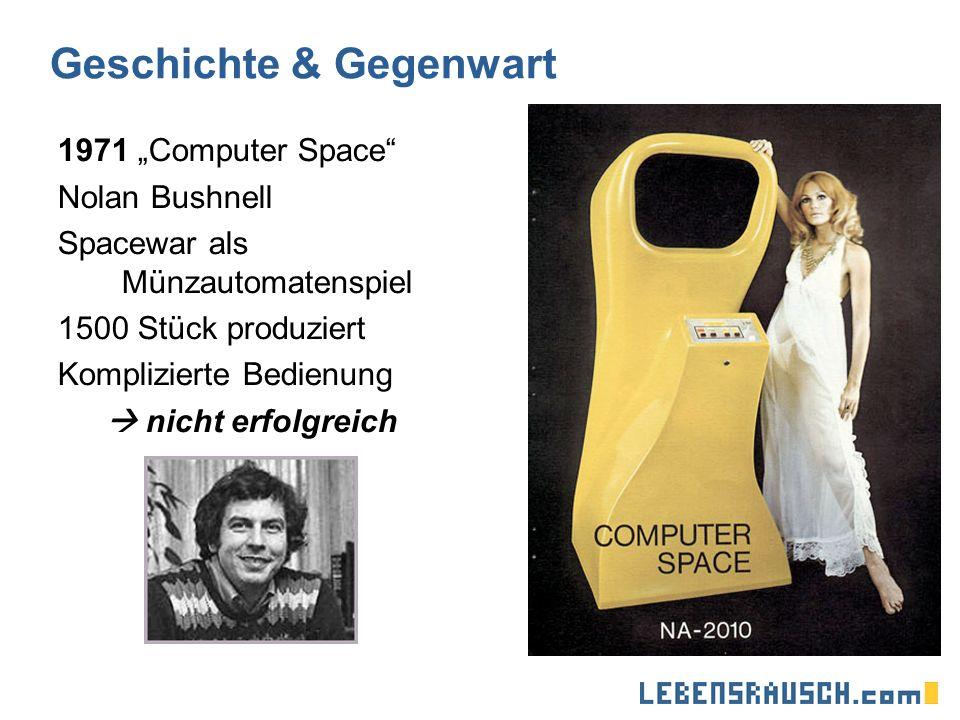 Geschichte & Gegenwart 1971 Computer Space Nolan Bushnell Spacewar als Münzautomatenspiel 1500 Stück produziert Komplizierte Bedienung nicht erfolgreich