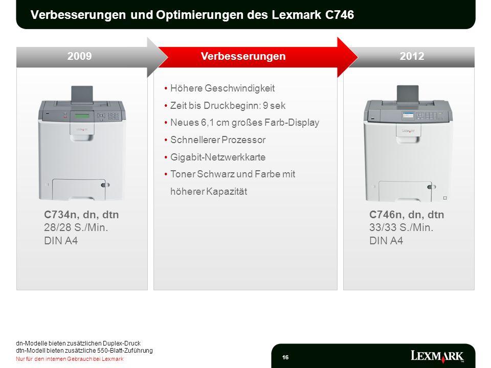 Nur für den internen Gebrauch bei Lexmark 16 C746n, dn, dtn 33/33 S./Min. DIN A4 C734n, dn, dtn 28/28 S./Min. DIN A4 Höhere Geschwindigkeit Zeit bis D