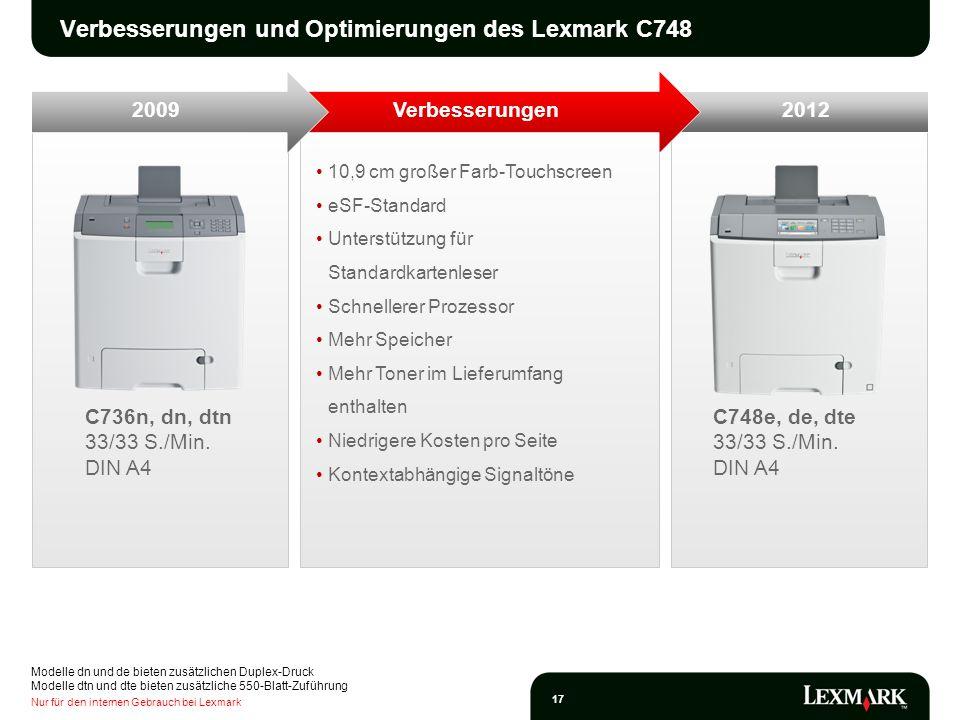 Nur für den internen Gebrauch bei Lexmark 17 10,9 cm großer Farb-Touchscreen eSF-Standard Unterstützung für Standardkartenleser Schnellerer Prozessor