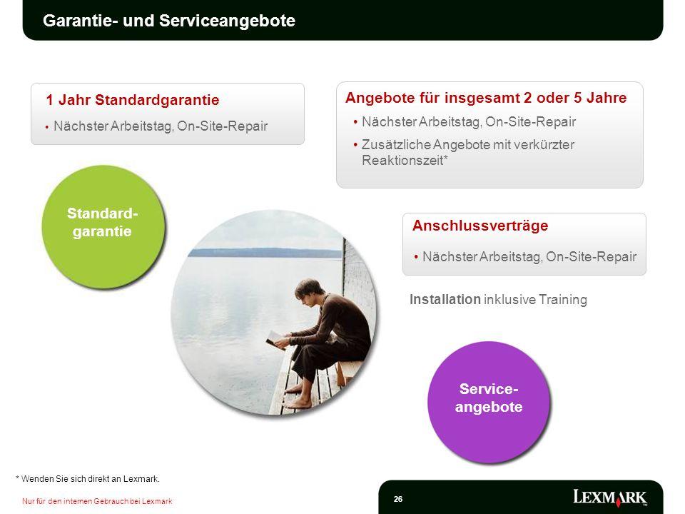 Nur für den internen Gebrauch bei Lexmark 26 Garantie- und Serviceangebote Installation inklusive Training Nächster Arbeitstag, On-Site-Repair Zusätzl
