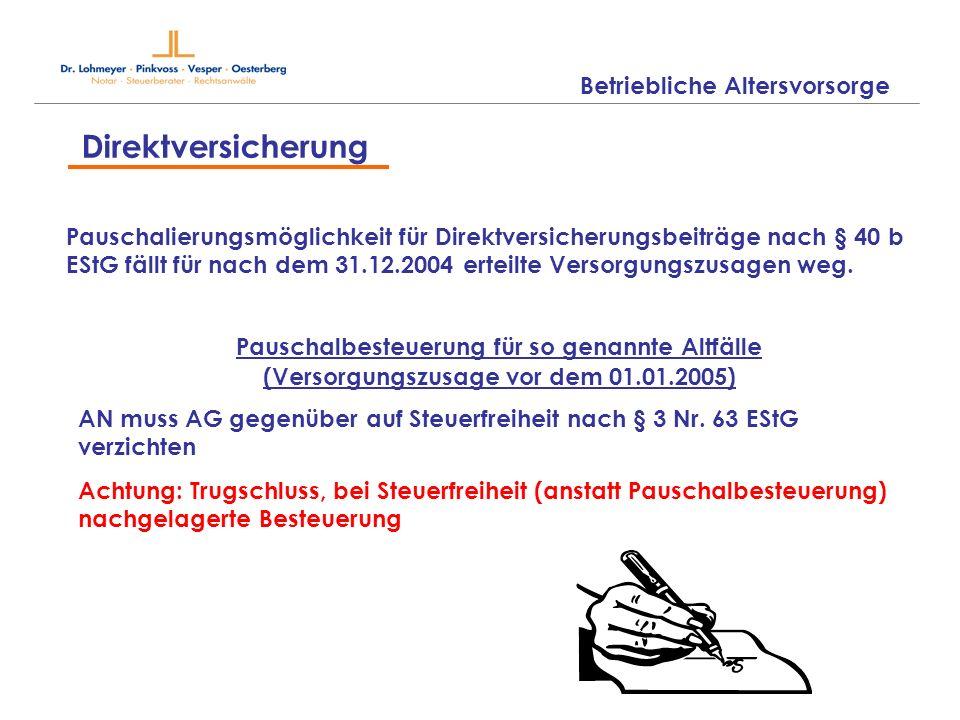 Betriebliche Altersvorsorge Direktversicherung Pauschalierungsmöglichkeit für Direktversicherungsbeiträge nach § 40 b EStG fällt für nach dem 31.12.20