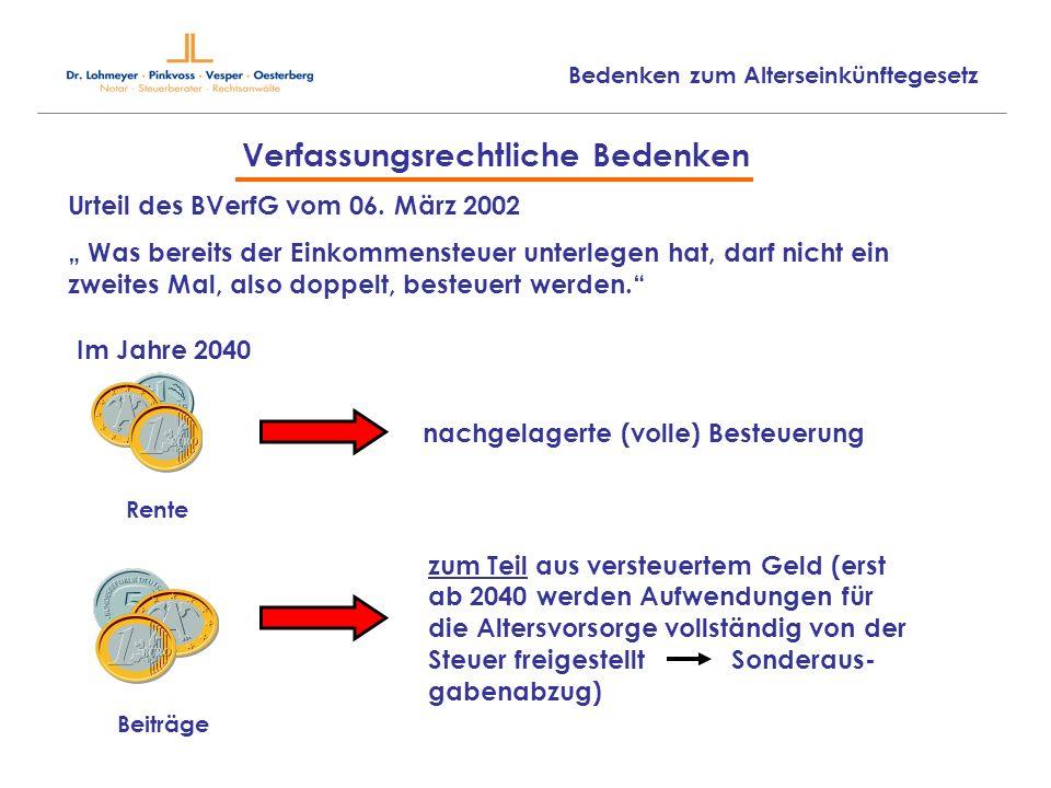 Verfassungsrechtliche Bedenken Urteil des BVerfG vom 06. März 2002 Was bereits der Einkommensteuer unterlegen hat, darf nicht ein zweites Mal, also do