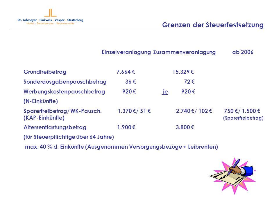 Grenzen der Steuerfestsetzung Grundfreibetrag 7.664 15.329 Sonderausgabenpauschbetrag 36 72 Werbungskostenpauschbetrag 920 je 920 (N-Einkünfte) Sparer