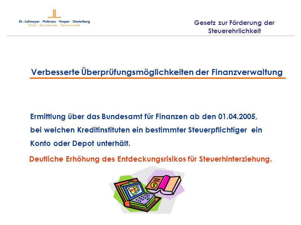 Verbesserte Überprüfungsmöglichkeiten der Finanzverwaltung Ermittlung über das Bundesamt für Finanzen ab den 01.04.2005, bei welchen Kreditinstituten