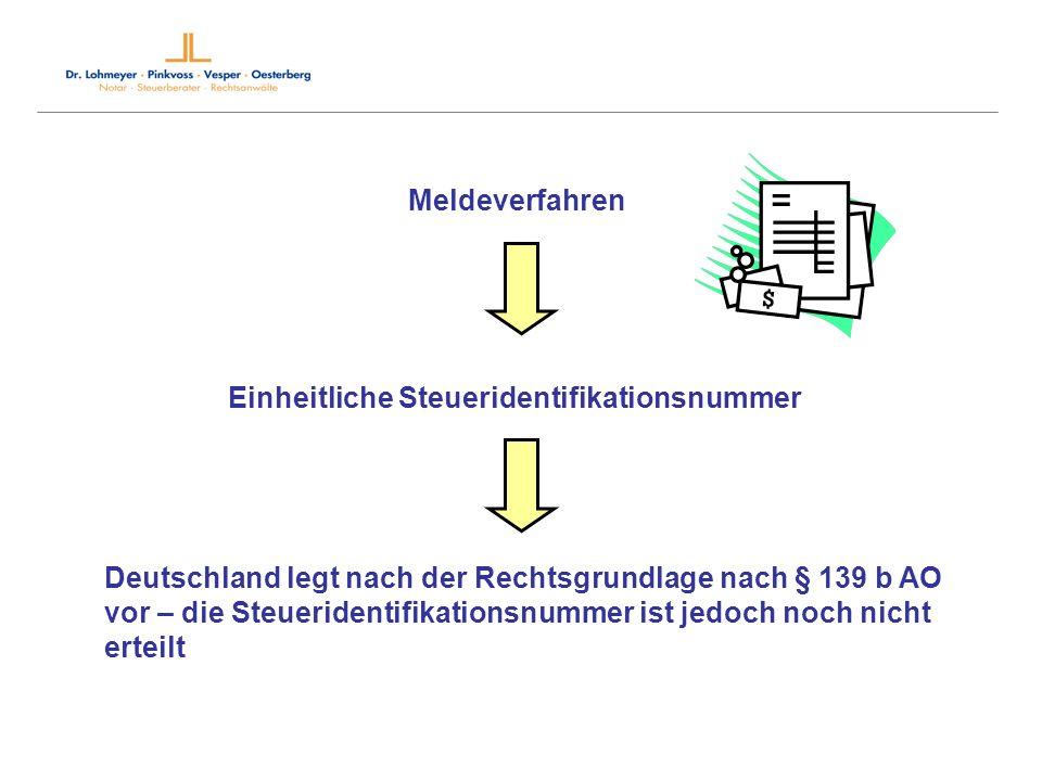 Meldeverfahren Einheitliche Steueridentifikationsnummer Deutschland legt nach der Rechtsgrundlage nach § 139 b AO vor – die Steueridentifikationsnumme