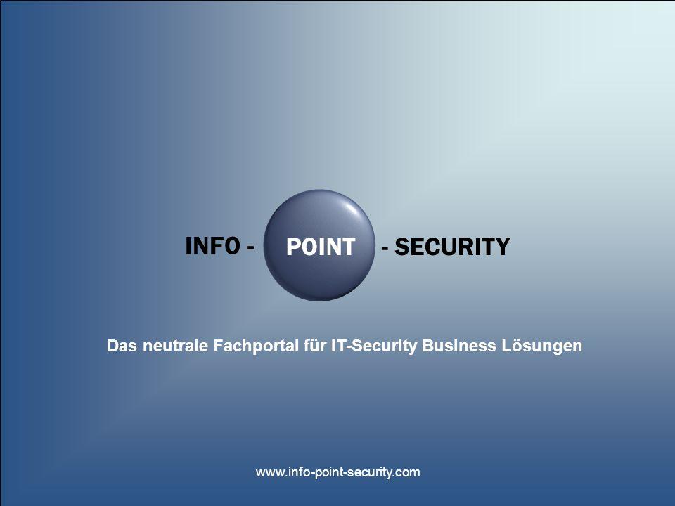 INFO -POINT- SECURITY www.info-point-security.com Netzwerk-basierte IDP Systeme Fall 3: Der neuartige Internet-Wurm Internet Router Firewall Webserver des Unternehmens File- & Mailserver Administratoren Entwicklung VertriebBuchhaltungChefs Netzwerk XYZ AG Unbekannte Nutzer mit böswilligen Absichten (Cracker (Hacker), Script-Kiddies, Konkurrenzspionage, Virenschreiber etc.) Netzwerkbasiertes IDP-System: -S-Stark erhöhte Aktivität beim Mailverkehr A bschalten des Mailverkehrs N ormales Weiterarbeiten ohne E- Mail und ohne Zusammenbruch des Gesamtnetzwerkes möglich