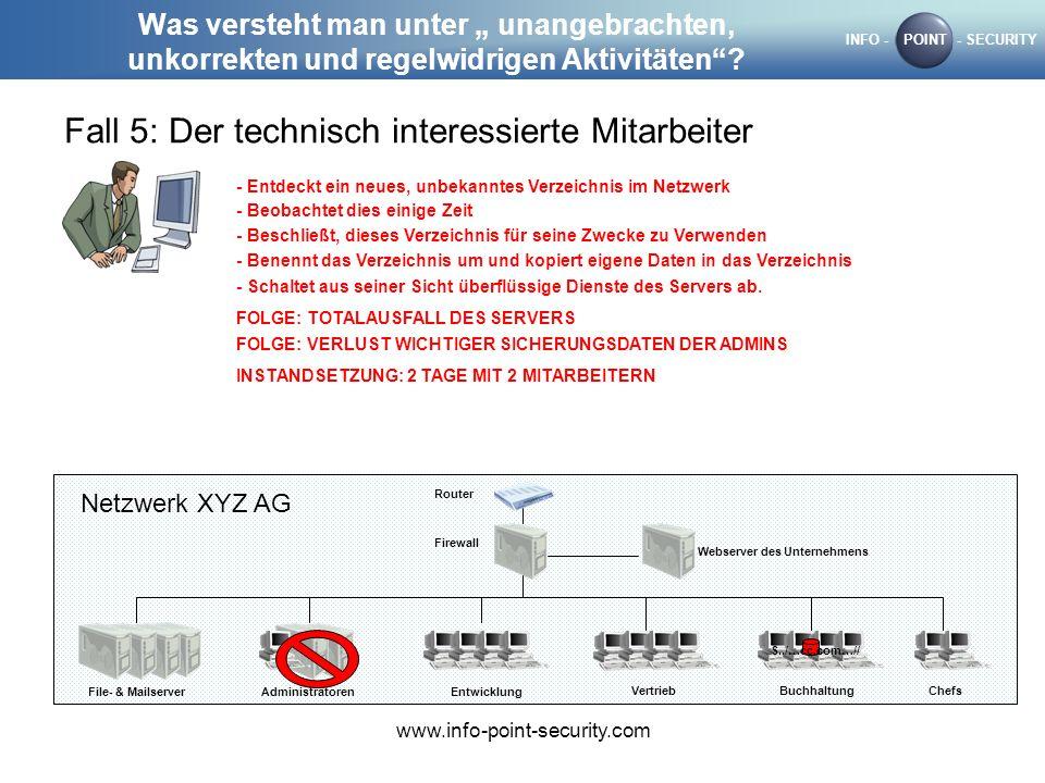 INFO -POINT- SECURITY www.info-point-security.com Was versteht man unter unangebrachten, unkorrekten und regelwidrigen Aktivitäten? Fall 5: Der techni