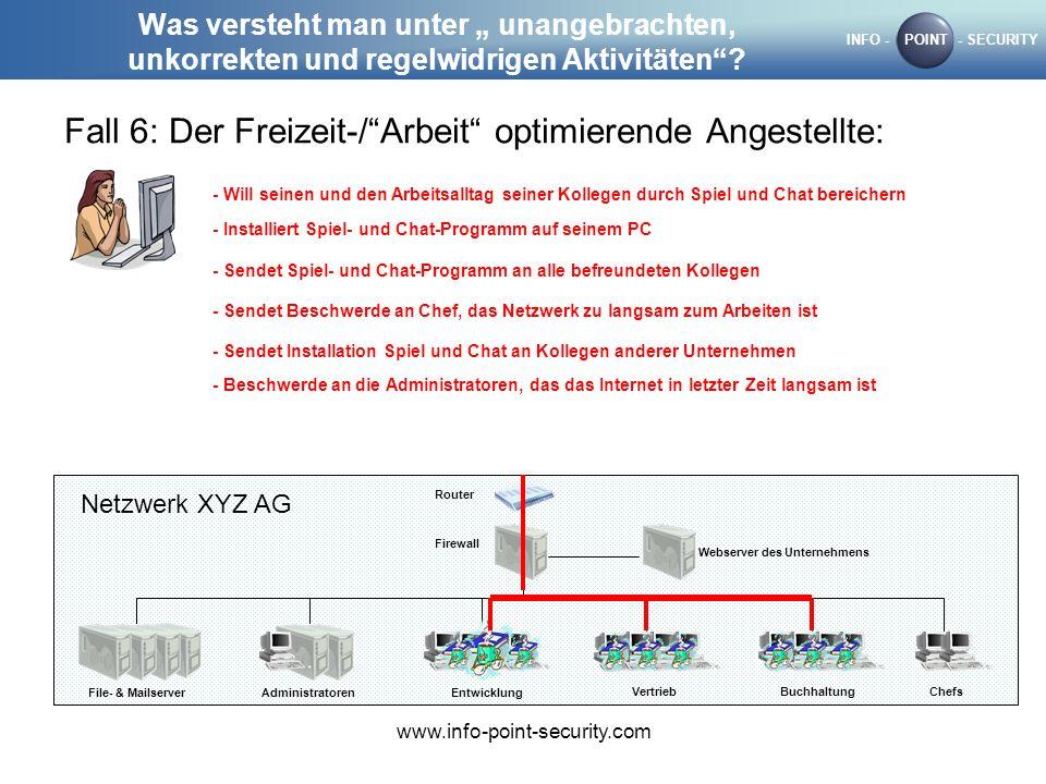 INFO -POINT- SECURITY www.info-point-security.com Was versteht man unter unangebrachten, unkorrekten und regelwidrigen Aktivitäten? Fall 6: Der Freize