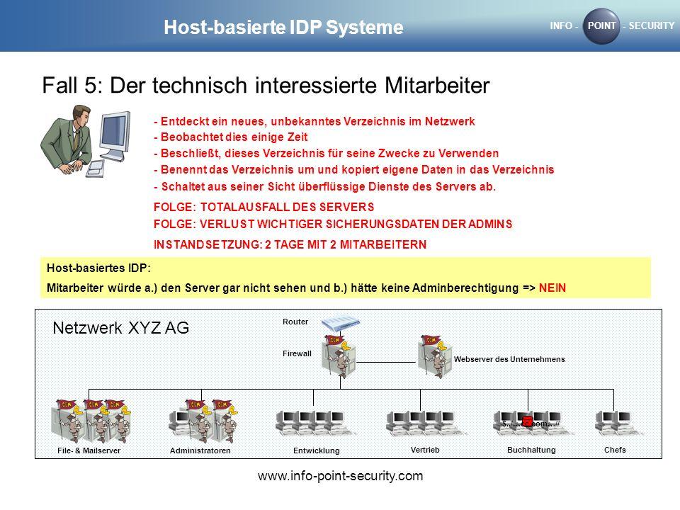 INFO -POINT- SECURITY www.info-point-security.com Host-basierte IDP Systeme Fall 5: Der technisch interessierte Mitarbeiter Router Firewall Webserver