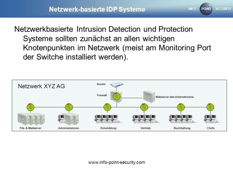 INFO -POINT- SECURITY www.info-point-security.com Netzwerk-basierte IDP Systeme Netzwerkbasierte Intrusion Detection und Protection Systeme sollten zunächst an allen wichtigen Knotenpunkten im Netzwerk (meist am Monitoring Port der Switche installiert werden).
