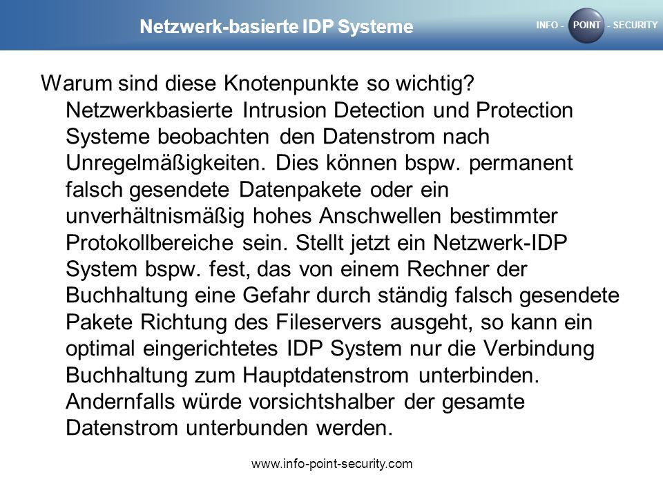 INFO -POINT- SECURITY www.info-point-security.com Netzwerk-basierte IDP Systeme Warum sind diese Knotenpunkte so wichtig? Netzwerkbasierte Intrusion D