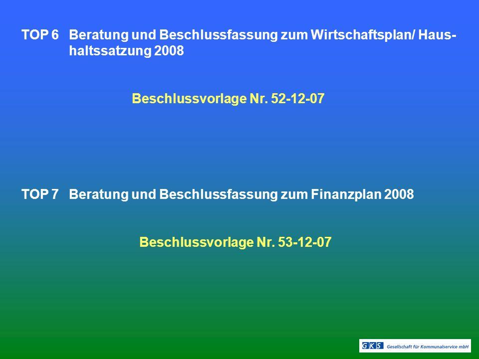 TOP 6Beratung und Beschlussfassung zum Wirtschaftsplan/ Haus- haltssatzung 2008 Beschlussvorlage Nr. 52-12-07 TOP 7Beratung und Beschlussfassung zum F