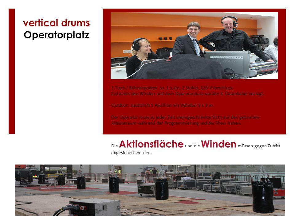 1 Tisch / Bühnenpodest ca. 1 x 2m, 2 Stühle, 220 V Anschluss. Zwischen den Winden und dem Operatorplatz werden 3 Datenkabel verlegt. Outdoor: zusätzli