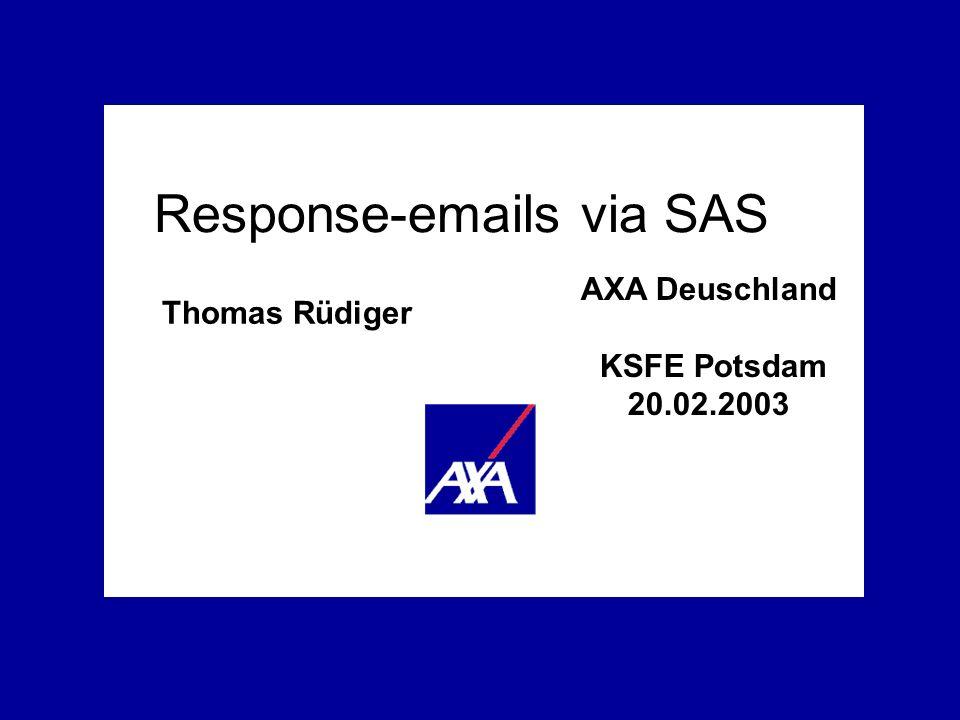 AXA Deutschland Response- emails via SAS Seite 2 20.02.2003 AXA Service AG, Deutschland Thomas Rüdiger (thomas.ruediger@gmx.at) / VTS-CRM / smtp_ksfe.ppt Situation Probleme Lösung Outlook wird im Tagesgeschäft am häufigsten genutzt Emails mit Kundendaten können individualisiert (Zweigstellen, Agenturen) und ad hoc verschickt werden HTML Formulare in Outlook emails können Response-Daten erzeugen, z.B.