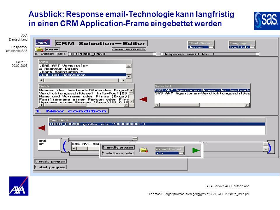 AXA Deutschland Response- emails via SAS Seite 19 20.02.2003 AXA Service AG, Deutschland Thomas Rüdiger (thomas.ruediger@gmx.at) / VTS-CRM / smtp_ksfe
