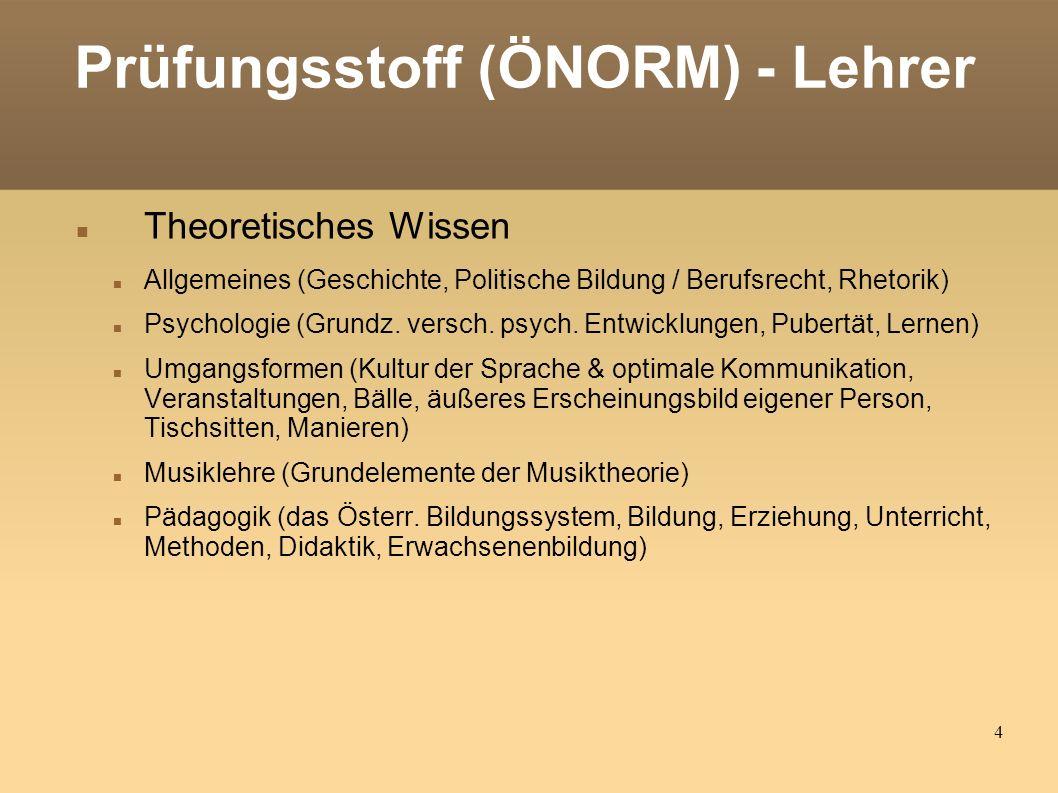 4 Prüfungsstoff (ÖNORM) - Lehrer Theoretisches Wissen Allgemeines (Geschichte, Politische Bildung / Berufsrecht, Rhetorik) Psychologie (Grundz.