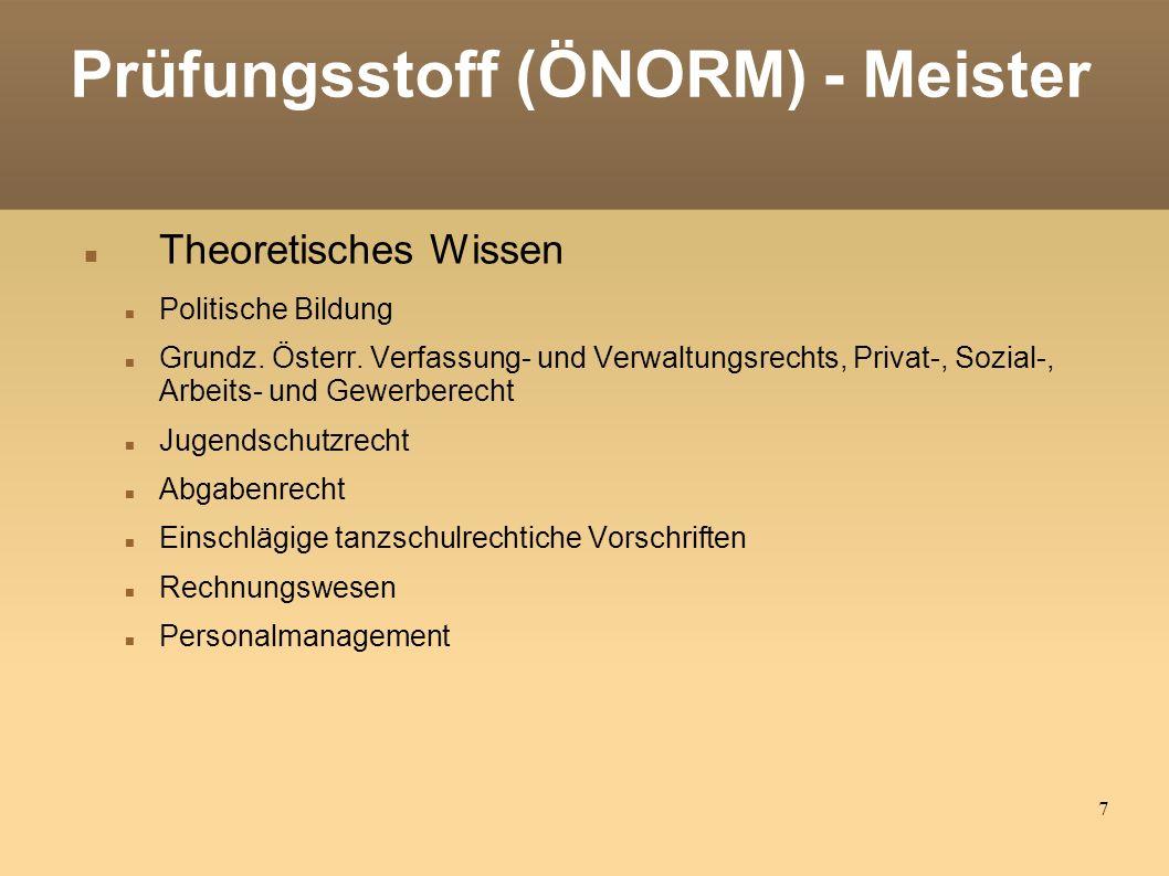 7 Prüfungsstoff (ÖNORM) - Meister Theoretisches Wissen Politische Bildung Grundz.
