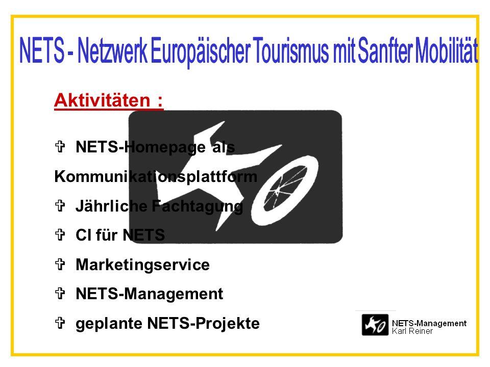 Aktivitäten : V NETS-Homepage als Kommunikationsplattform V Jährliche Fachtagung V CI für NETS V Marketingservice V NETS-Management geplante NETS-Proj